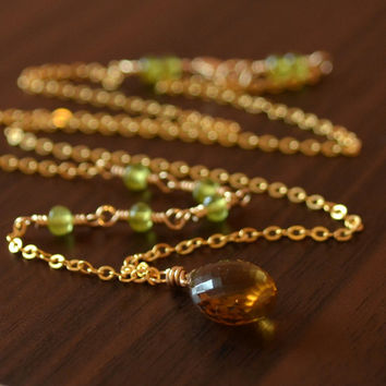 Fall Gemstone Necklace, Beer Quartz, Olive Green Vesuvianite, AAA Stones, Sterling Silver or Gold Filled Jewelry, Free Shipping