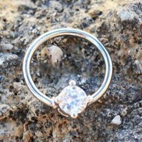 316L Stainless Steel Prong Set CZ Captive Bead Ring / Septum Ring Day-First™