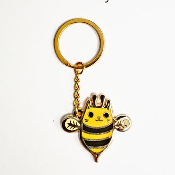 Cat Bee Keychain -- Bee Cat Metal Key Chain