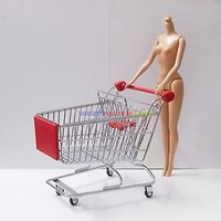 "1 x New Mini Supermarket Shopping Cart For 12"" 1/6 Action Figures / Barbie Dolls"