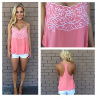Flirty Floral Embroidered Top - PEACH