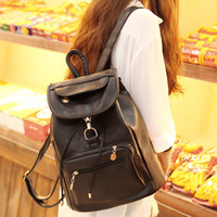 Casual Womens Soft Vintage Leather Backpack Daypack School Bag