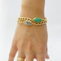 """Chunky Chain with Wirewrapped Aquamarine, 6.75"""", 2"""" Extension, Bracelet"""