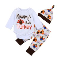 lovely baby clothes sport suit for boy girl costume Letter Romper Tops +Pants +Hat Thanksgiving 3pc/ set Kids' things
