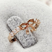 Free Shipping Korean Style Set Auger Bowknot Ring