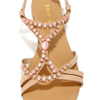 Bamboo Ambra 49 Nude Jeweled Sandals