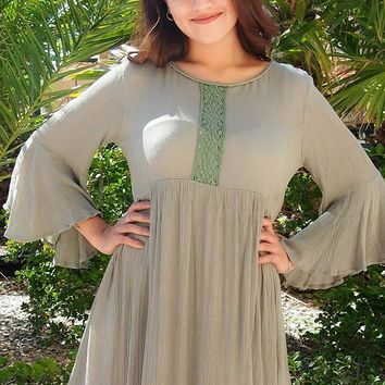 Can't Stop Staring Green Flounce Sleeve Swing Dress