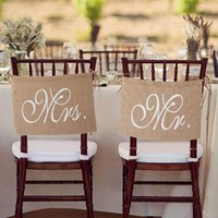 2018 New Fashion Mr and Mrs Tag Burlap Chair Banner Sign Garland Rustic Wedding Party Decoration