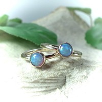 Tiny Hoop Earring Gemstone Fire Opal Blue Gold
