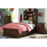 Legacy Impressions Bookcase Bed With Storage Footboard In Classic Clear Cherry
