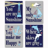 You are my sunshine nautical nursery wall art baby boy room decor kids poster navy blue red artwork dolphins decoration shower toddler gift