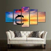 5 Panel Wall Art Animal Canvas Print Picture
