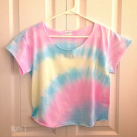 TIE DYE PASTELS Ombre Crop Top Retro Custom by LivingYoungDesigns