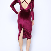 'The Daniela' Velvet Backless Long Sleeve Midi Dress