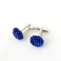 Men Gift - Royal Blue Cuff Links - Bead Crochet Cuff Links - Sparkly Cuff Links