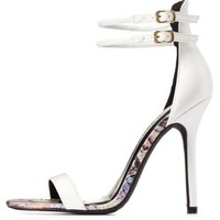White Python Insole Double Ankle Strap Heels by Charlotte Russe