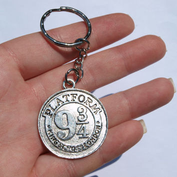 Geeky key chain Silver Keychain Fandom gift Wizard accessories Magic Key chain ring Wizard staff Mage must have Gift for geeks