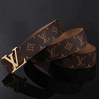 Louis Vuitton LV Woman Men Fashion Smooth Buckle Belt Leather Belt Skin Belts