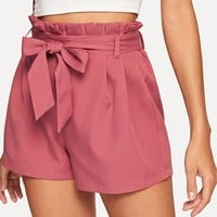 Self Tie Waist Paperbag Shorts