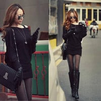 Women Batwing Sleeves Knitted long Knitwear cardigan Jumpers Casual Sweater Dress = 1946801540
