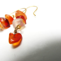 Gemstone Earrings Natural Agate Orange and Clear Chip Bead Dangle Earrings, Women's Earrings, Drop Earrings