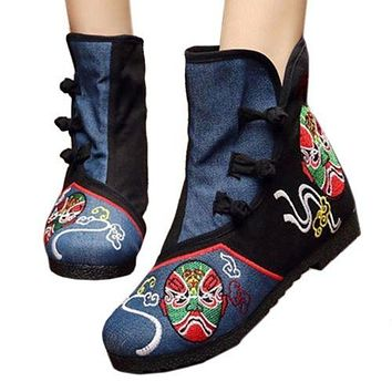 Vintage Beijing Cloth Shoes Embroidered Boots black thin shoes 35