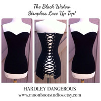 The Black Widow, Sexy Rock n Roll Lace Up Corset Style Top, Pin Up Punk Strapless Pinup Rockabilly Goth Punk Rock Stretch Knit Shirt