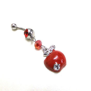 Red Apple Navel Ring, Silver & Red Belly Ring, Red Crystal Navel Ring, Crystal Belly Ring, Rhinestone Belly Ring, Dangle Apple Belly Ring