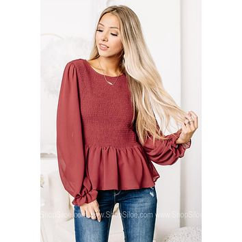 Don't Let Me Down Brick Red Smocked Top