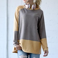 Color Block Tunic - Mocha