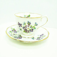 Royal Albert Violets for Love tea cup teacup saucer with purple white flowers - Royal Albert footed floral tea cup saucer set