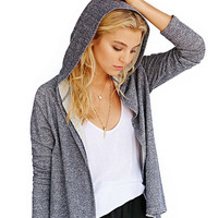 Grey Long Sleeve Kick Pleat High Low Hooded Coat