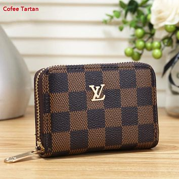 LV New fashion monogram check print wallet purse Coffee Tartan