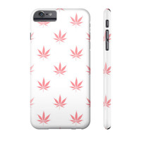 Coral Peach Cannabis Pattern iPhone Case