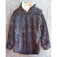Two Tone Sherpa Pullover 2.0 in Charcoal