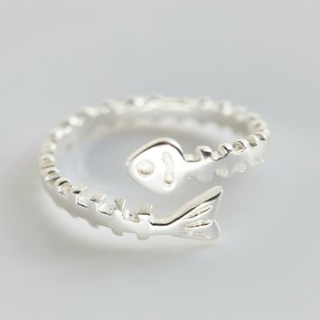 Personality of fish bone 925 sterling silver ring, a perfect gift !
