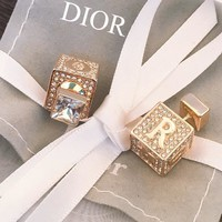 Dior Square Dice Alphabet Crystal Earrings Accessories Jewelry