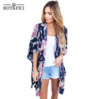Hotapei Women Chiffon Beach Cover Up Flower Print Open Front Swimsuit Cover Ups summer Cardigan Bathing Suit beach wear LC42209