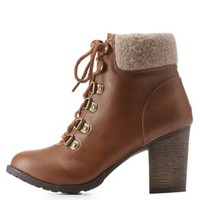 Chestnut Sweater-Cuffed Hiking Booties by Charlotte Russe
