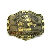 Brass Belt Buckle Livingston Wells Sailing Ship Gold London Australia Gift Idea Jean Fashion Wear Vintage 1970 Western Wear Fathers Day