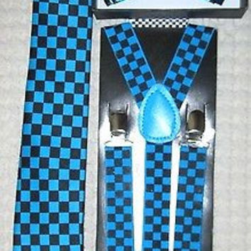 """Turquoise French Blue Black Checkered Bow Tie,3"""" Neck Tie,&Adjustable Suspenders"""
