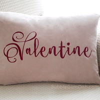 Valentine Embroidered Pillow Cover Blush Pink Script Font Stitching in Marsala Red Wine Lettering Home Decor Valentines Day Pillow Cover