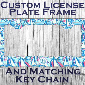 Custom Monogrammed personalized license plate, frame & keychain. Red Right Return Lily Pulitzer inspired Vanity car tag Gifts under 20 #3075