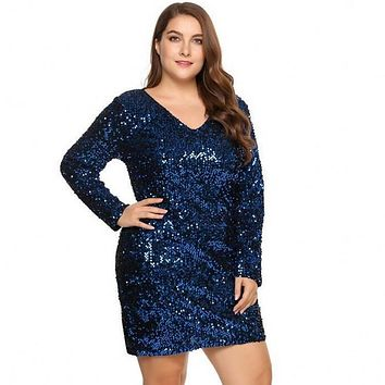 Sexy Sequined Dress 5XL