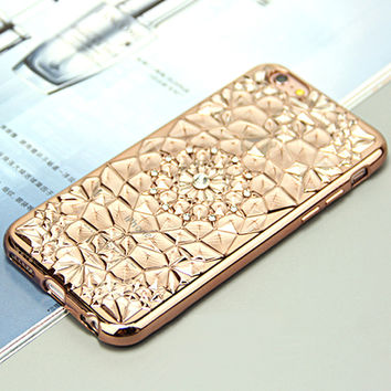 Phone Case For iPhone 7 Plus Plating TPU Sun Flower Design Mobile Phone Cover Bag Cases For iPhone 7Plus