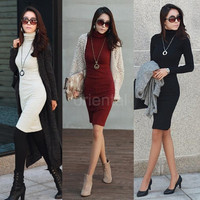 New Korean Women Dress Turtle Neck Long Sleeve Split Design Slim OL Lady Bodycon Knit Dress Casual Skirt G0792|26201 = 1958421828