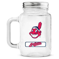 Cleveland Indians Mason Jar Glass With Lid