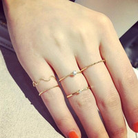 Cute Chic style crystal rhinestone midi fist finger joint ring 5 pieces. \ Set