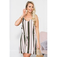 Striped Tassel Waist Tie Dress