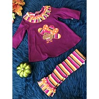 Bonnie Jean Girls Plum Thanksgiving Turkey Outfit THCL